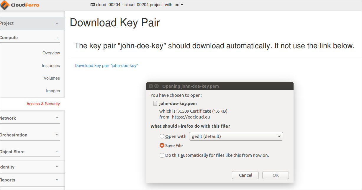 Save the private key on the disk