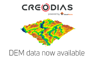 Illustration of Digital Elevation Model available on CREODIAS